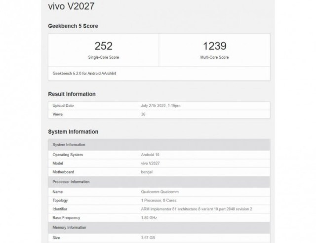 vivo Y20 is on the way with the Snapdragon 460 at the helm