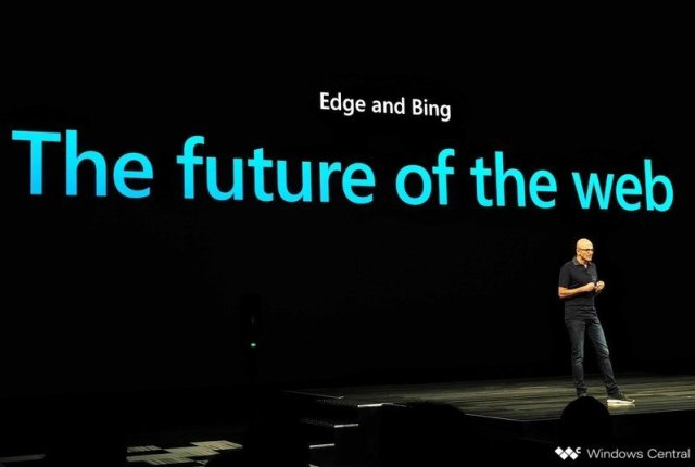 Satya Nadella on stage at Microsoft Ignite 2019