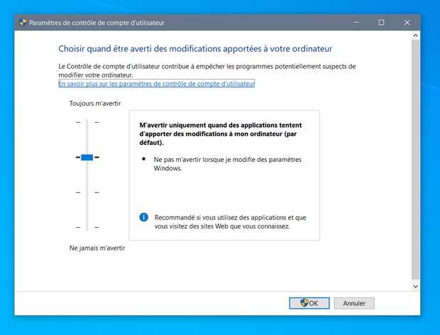 Windows 10 et le contrôle de compte utilisateur (UAC)
