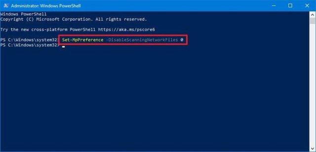 Microsoft Defender enable scan network files