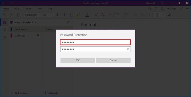 OneNote create password for section