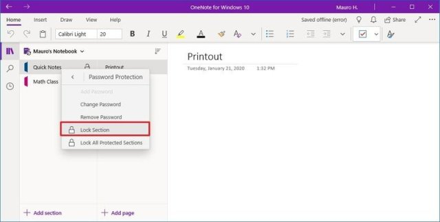 OneNote lock section option