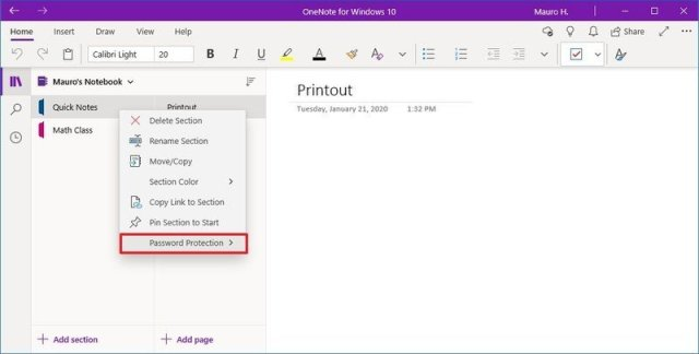 Onenote Password Protection option