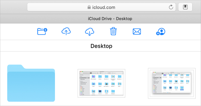 iCloud Drive website with Download icon