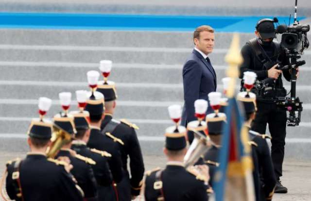 Emmanuel Macron lors du défilé militaire du 14-Juillet, place de la Concorde à Paris.