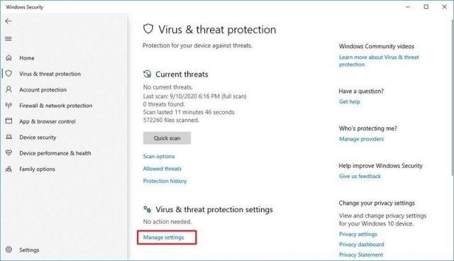 Windows Security antivirus manage settings