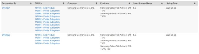 Samsung Galaxy Tab Active 3 Bluetooth Certification
