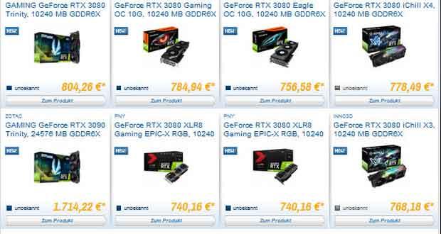 """GeForce RTX 30 series - quelques tarifs de versions """"personnalisées"""""""
