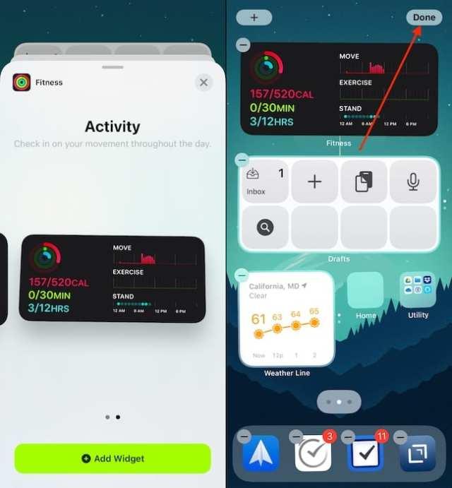 Add Fitness Widget iOS 14 2