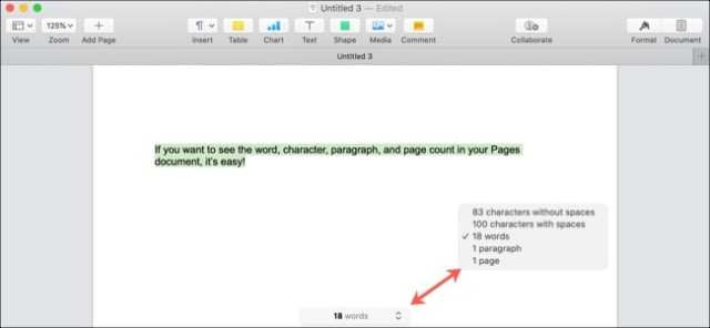Pages Word Count Selected Text-Mac