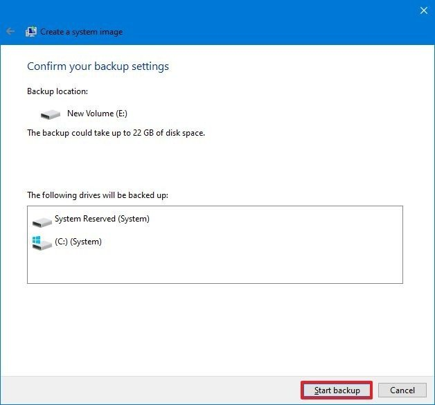 Windows 10 backup start process