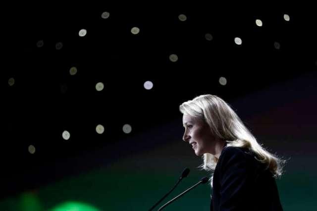 Marion Maréchal livre un discours à la «convention de la droite» à Paris le 28 septembre 2019.