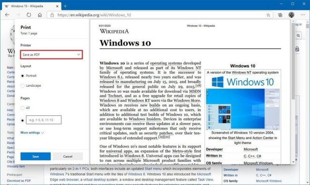 Microsoft Edge save as PDF option