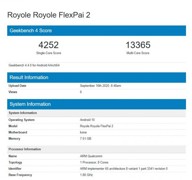 Royole FlexPai 2 Geekbench scorecard