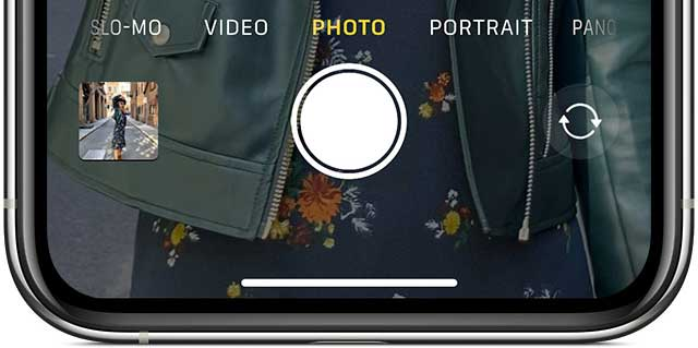 Camera app Photo mode iPhone