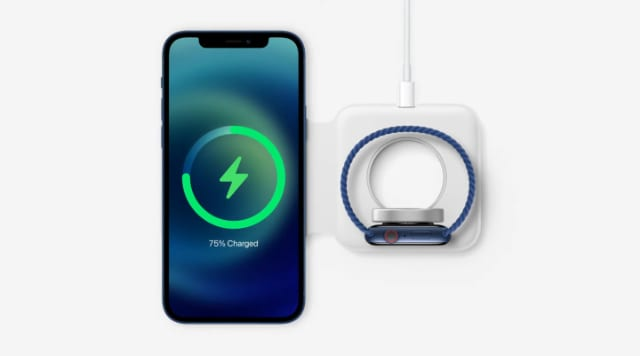 Apple MagSafe duo charger with iPhone 12 and Apple Watch