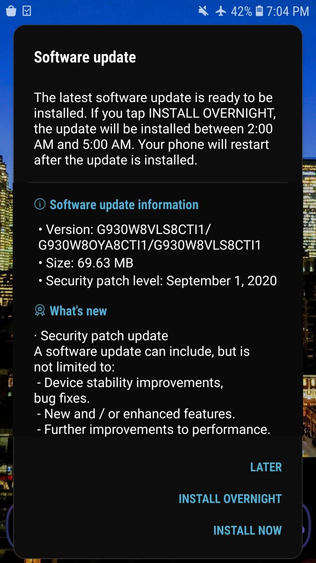 Samsung Galaxy S7 September 2020 Security Patch Software Update