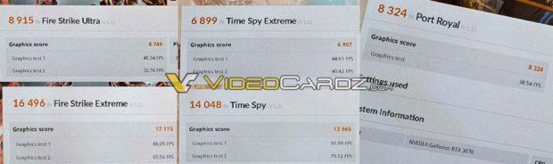 Performance de la GeForce RTX 3070 sous 3DMark Fire Strike, Time Spy et Port Royal