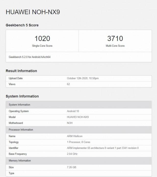 Huawei Mate 40 Pro Geekbench test run
