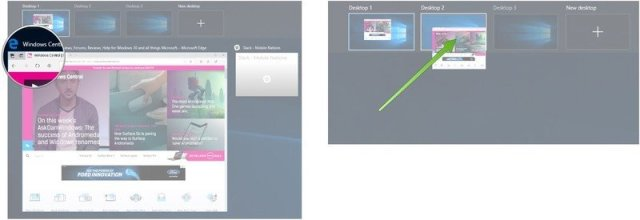 Click and hold the window. Drag it to a new desktop.