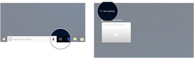 Click Task View. Click New Desktop.