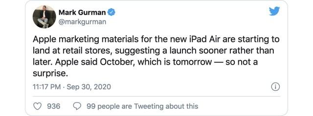 iPad Air 4 tweet Mark Gurman