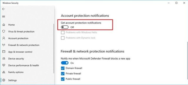 Account protection notifications disabled