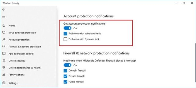 Account Protection custom notifications settings