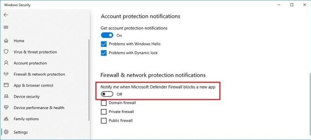 Firewall notifications disabled
