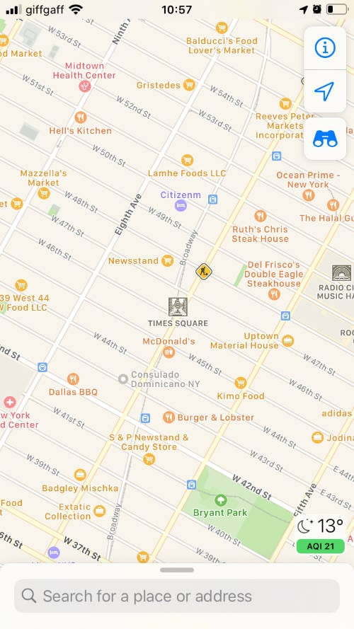 Apple Maps showing Times Square