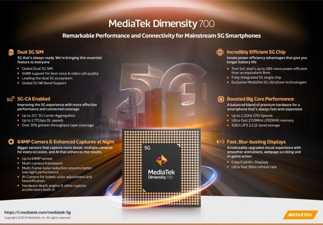 MediaTek unveils Dimensity 700, a 7 nm chipset with 5G modem, also two Chromebook chipsets
