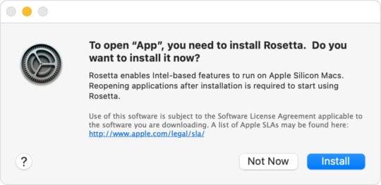 macOS Big Sur Rosetta 2 Alert