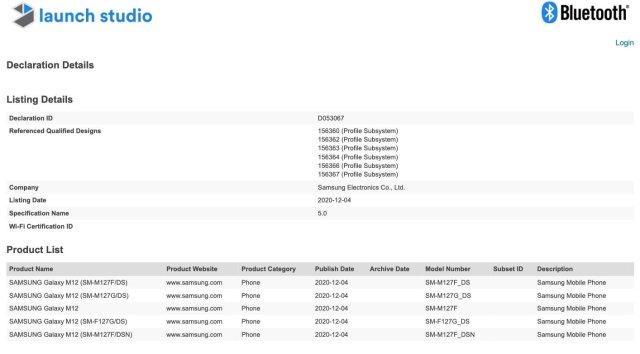 Samsung Galaxy M12 SM-M127F SM-F127F Bluetooth Certification