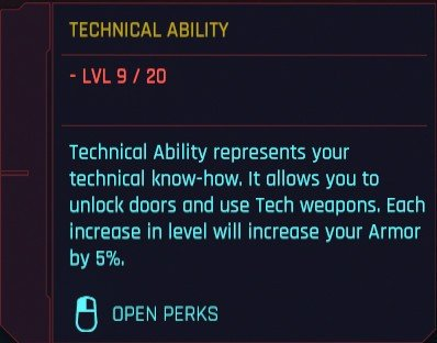 Cyberpunk 2077 Attributes Technical Ability Details