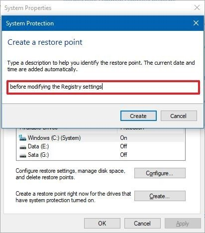 Windows 10 create restore point settings