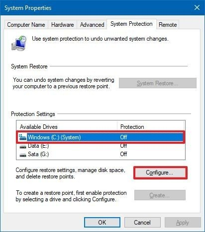 System Properties Protection Settings