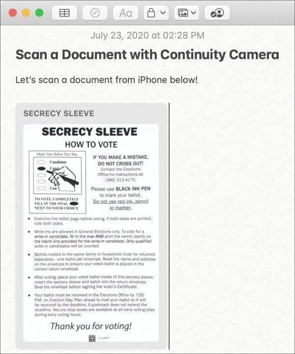 Scanned Document Continuity Camera-Mac iPhone