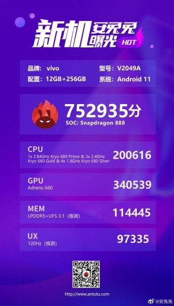 iQOO 7 appears on AnTuTu with key specs, scores over 752K points