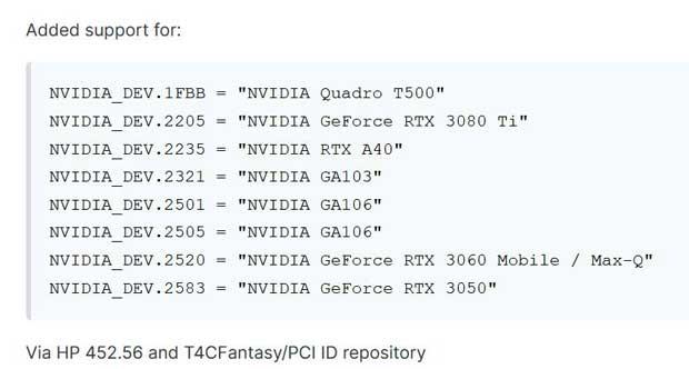 La GeForce RTX 3080 Ti est mentionnée par des pilotes HP ?