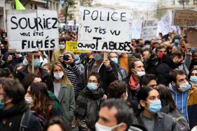 Manifestation contre la loi« sécurité globale» à Marseille, samedi 28 novembre.