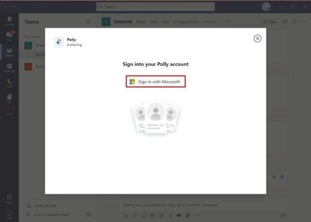 Polly sign in on Microsoft Teams