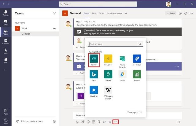 Microsoft Teams Messaging extensions button