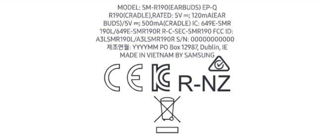 Samsung Galaxy Buds Pro FCC Label