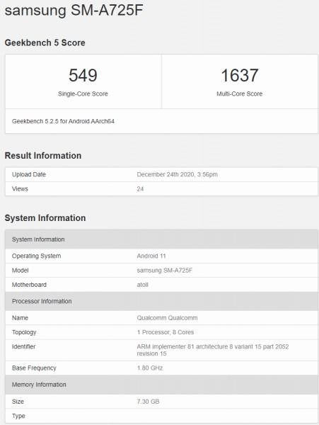 Samsung Galaxy A72 4G appears on Geekbench