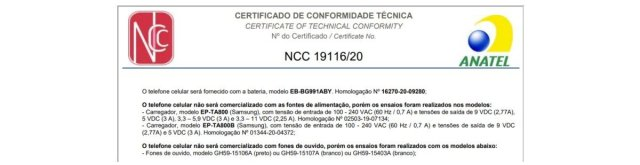 Samsung Galaxy S21 No Charger Headphones Anatel Certification Brazil