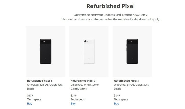 You can now buy a refurbished Pixel 3 from $249