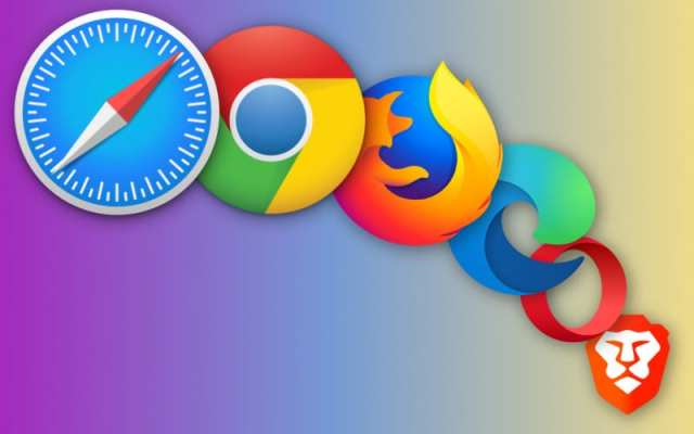 Best Mac browser logos over colorful background
