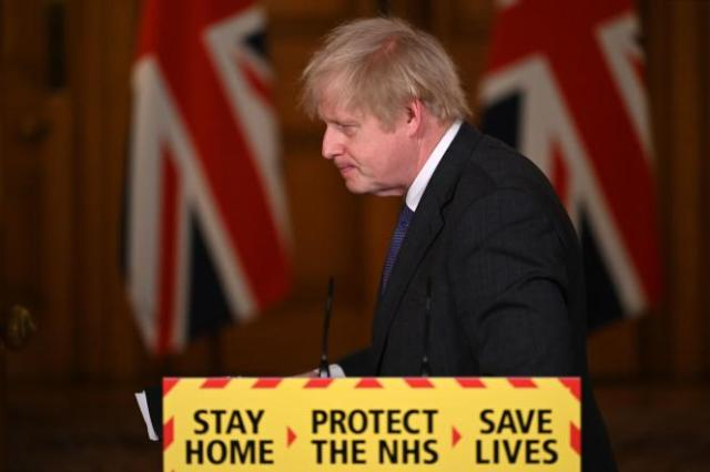 Le premier ministre britannique Boris Johnson, lors de la conférence de presse du vendredi 22 janvier, àDowning Street.
