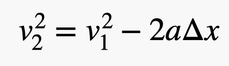 velocity final squared equals velocty first squared minus 2 times a times change in x
