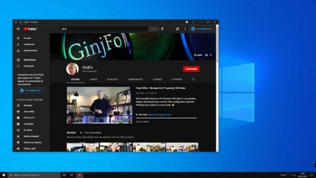 Application PWA Youtube sous Windows 10